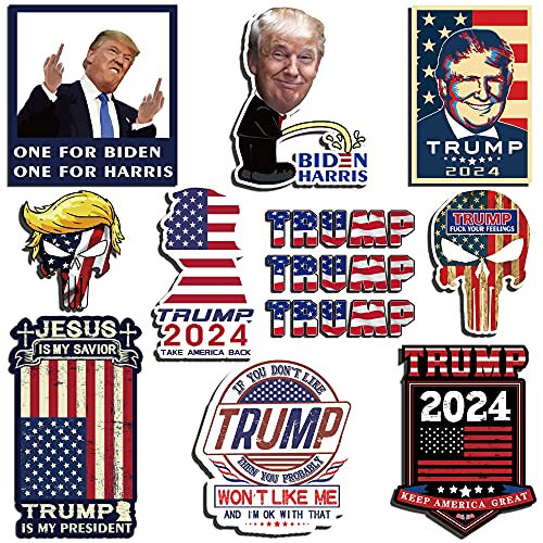 Trump 2024 Sticker (12 Pack), Trump Stickers and Decals, Trump 2024 Bumper Sticker for Car, Truck, House, Windows, Laptop, Trump American Flag Vinyl Stickers, Great Gift for Any Patriot
