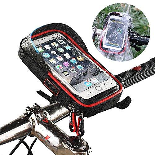 Bici Borsa Manubrio, Telefono Bicicletta Ciclismo Borsa Impermeabile Bicicletta Custodia Smartphone Porta Cellulare Moto Bike Waterproof Phone Case Bag per iPhone X 8/7 Plus Samsung S8 (Rosso,size≤6)