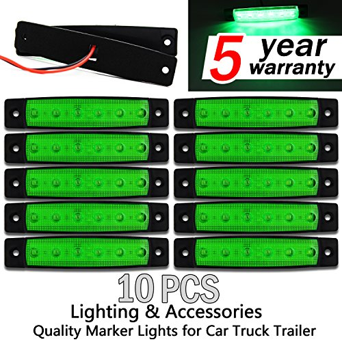 10x 6 LED Clearence Truck Bus Trailer Side Marker Indicators Light Tail Taillight Brake Stop Lamp 12V (Green)
