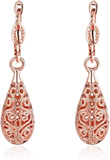 KOLOVEADA Con cristales de Swarovski cobre con de cristal de 18 K bañado en oro rosa Drop Juego de pendientes de moda libre de níquel