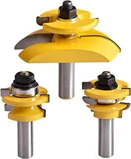 KATUR Round Over Cove Raised Panel Cabinet Door Rail and Stile Router Bits 3Pcs 1/2 Inch Shank Rail and Stile Ogee Blade Cutter Panel Cabinet Router Bits Set Wood Groove Tongue Milling Tool