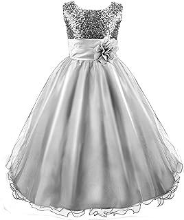 Acecharming Wedding Flower Girls Dress, Sequin Sleeveless Lace Dress for 3-12 Years Old Girls