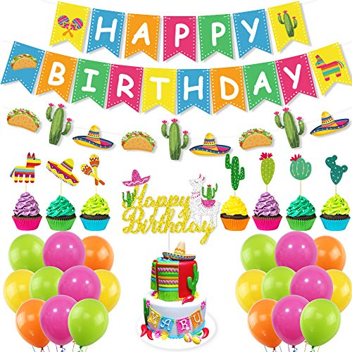 UTOPP Fiesta Birthday Party Decorations Kit,Mexican Happy Birthday Banner,Llama Cactus Cake Topper,40Pcs Balloons for Mexican Themed Cinco de Mayo Baby Shower,Birthday Photo Props Party Supplies