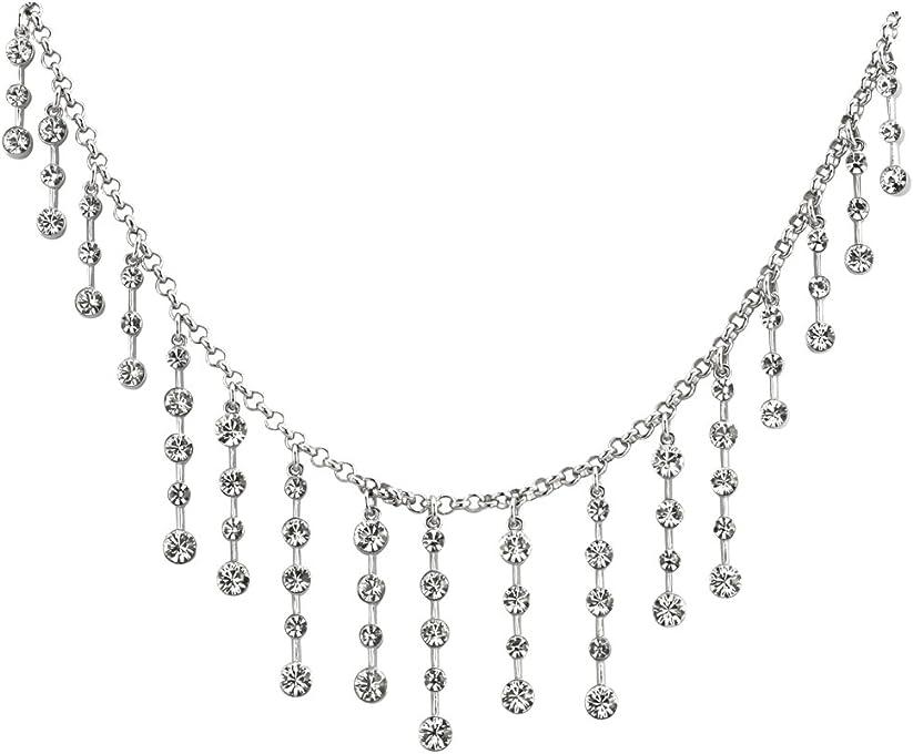 Inspired Treasures Tiara Fringe Necklace Silver-Toned - Swarovski Crystal - Licensed by Historic Royal Palaces, London