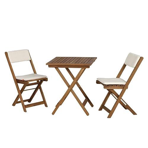 Siena Garden 673122 Almeria Set De Balcon 2 Chaises Pliantes 1 Table Avec Coussin Ecru