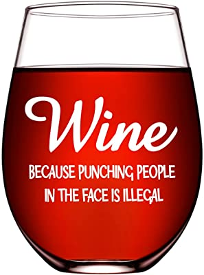 Funny Wine Glasses for Women Wine Gifts for Her Unique Friendship Gifts for Women Him Mom Coworker Wife BFF Best Friend Birthday Gifts Ideas 17oz Stemless Fun Wine Glasses Funny Sayings Because Punchi