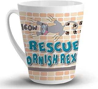 Makoroni - RESCUE A CORNISH REX CAT Cat Cats - 12 Oz. Unique LATTE MUG, Coffee Cup