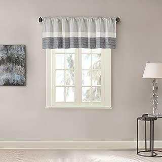 Madison Park Amherst Blackout Room-Darkening Window Treatment Valances Rod Pocket Short Drapes, 50x18, Grey