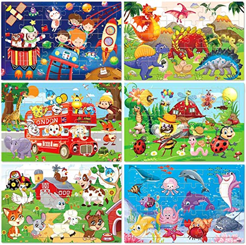 Wooden Jigsaw puzzles for kids ages 3-5 Year Old 30 Piece Colorful Wooden Puzzles for Toddler Children Learning Educational Puzzles Toys for Boys and Girls Set for Kids 2 3 4 5 Year Old (6 Puzzles)