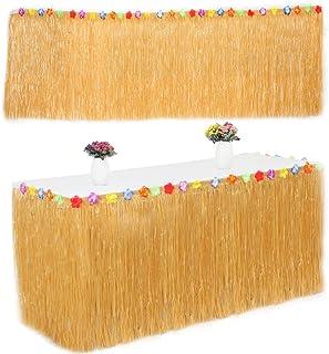 comprar comparacion Falda de Mesa Luau Hawaiana, Tropical Hawaiian Mantel Rafia Falda de Mesa con Flores de Seda Faux para Barbacoa Verano Tro...