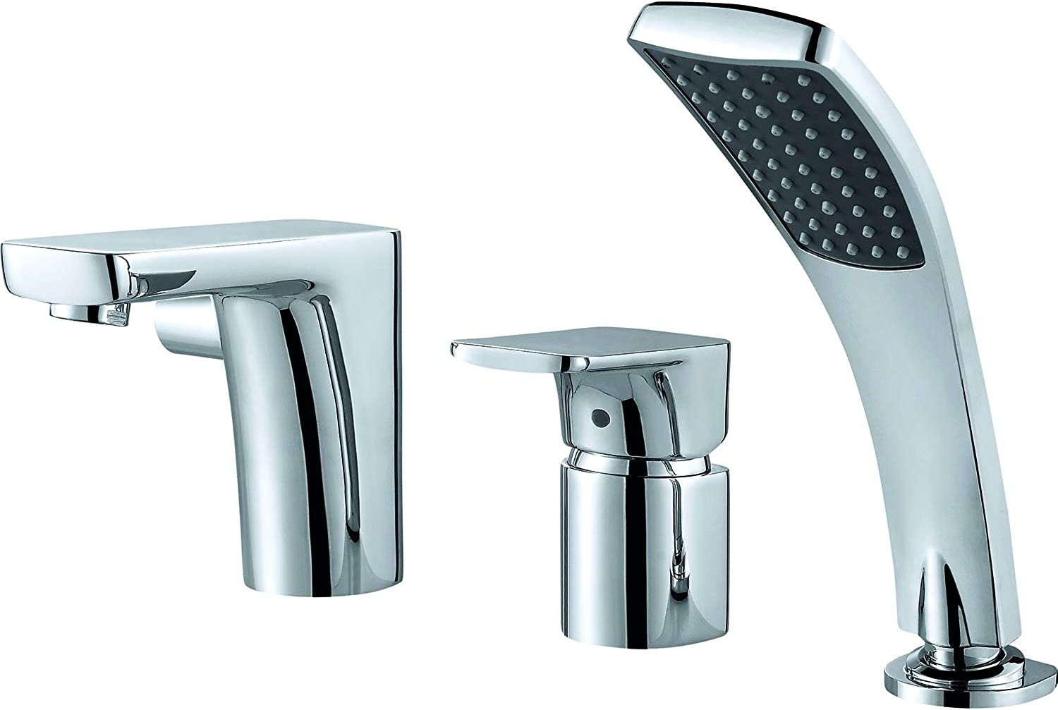 Water Save Tub Mixer Tap One-Lever Brass with Pull-Out Handheld Shower - Nickel Chrome Finish DA1434901