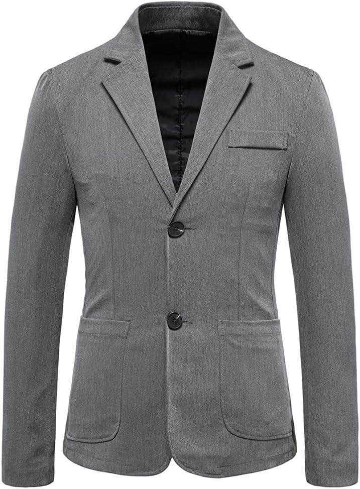 ZSQAW Men's Suit Top Solid Long Sleeve Casual Suit Slim Fit Jacket Fahsion Men Coat (Color : Gray, Size : XL Code)