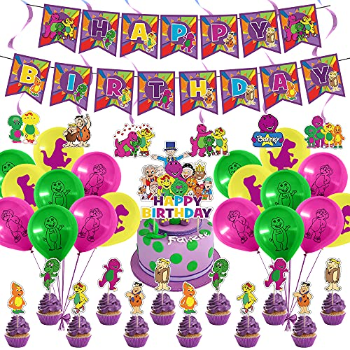 Barney Party Supplies, Barney and Friends Theme Birthday Party Decorations for Kids Adults with Happy Birthday Banner Cake Topper Cupcake Toppers Balloons