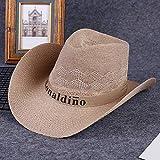 ZHANGXJ Vintage Hombre Mujer Sombrero de Vaquero de Paja Occidental Verano Ancho Brim Sombrero de Playa Protección UV al Aire Libre Camping Caza Sombrero de Sol con Correa Unisexo (Color : Khaki)