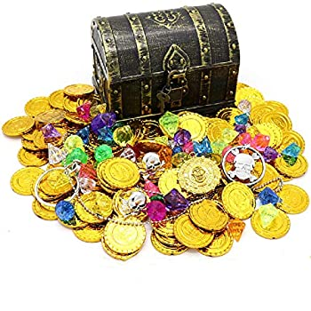 Kids Pirate Treasure Chest Toy Box Antique Color with Lock for Party Favors Props Decoration/Kids Storage Treasure Chest with  100 Plastic Gold Coins+100g Gems+2Earrings+2Rings+1Necklace