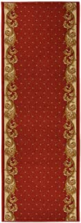 RugStylesOnline Custom Size Runner French Fleur de lis Veronica Border Roll Runner Red 26 Inch Wide x Your Length Size Choice Slip Skid Resistant Rubber Back (Red, 42 ft x 26 in)