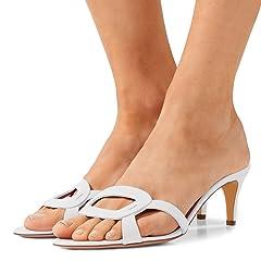 d98dec4e5026f FSJ Shoes. FSJ Women Summer Low Heels Sandals Open Toe Kitten Mules Cutout  Slip On Casual Shoes Size