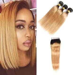 Dressmarker Ombre Brazilian Hair Straight 3 Bundles with 4x4 Free Part Closure 2 Tone T1B/27 Ombre Straight Human Hair Weave with closure Extensions(T1B/27,STW 12 14 16+10Closure)