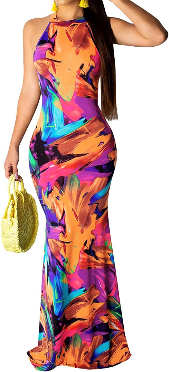 Halter Dress for Women Summer-Sexy Backless Floral Digital Printing Party Maxi Skirt Set