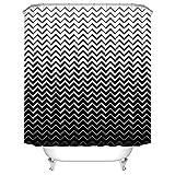 Koongso Cortina de Ducha patrón geométrico – Cortina de Ducha de poliéster con diseño de Ondas Chevron Impermeable con Ganchos para decoración del hogar