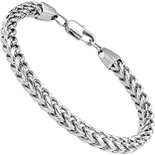 """FIBO STEEL 6-8 mm Wide Curb Chain Bracelet for Men Women Stainless Steel High Polished,8.5-9.1"""""""