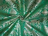 Schwere Brokat Stoff Parrot Grün X Metallic Gold Farbe