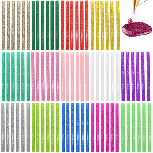 suo long Heißklebesticks Glitzer 7 mm Bunter Heißkleber-Klebestift 14 Farben 84 Stück Packung klebesticks für die Dekoration gefärbt, Creative DIY Craft Coloured Hot Melt heißklebesticks