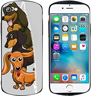 Bonoma Protective Case Cover Compatible for iPhone 6 and iPhone 6S (4.7inch) Dog Wallpapers Sausages Cute