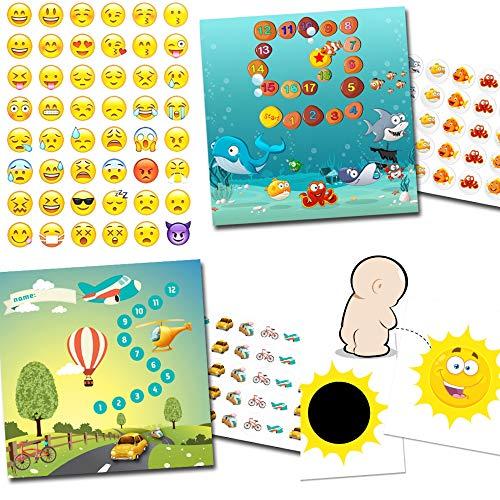 Töpfchen Training mit 2 Belohnungssystemen Aquarium + Transport / 1x Effekt Sticker Sonne / 48 Smileys