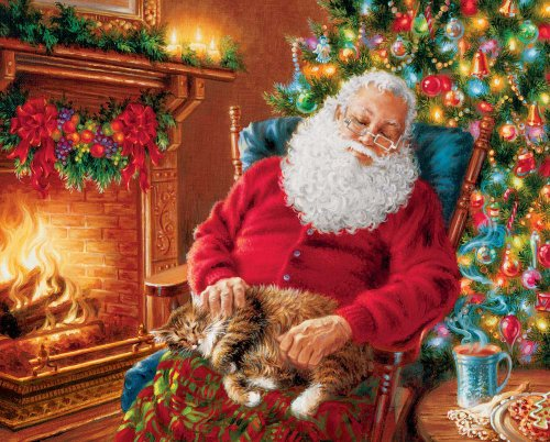 Springbok Puzzles - Santa's Cat Nap - 1000 Piece Jigsaw Puzzle - Large 24 Inches by 30 Inches Puzzle - Made in USA - Unique Cut Interlocking Pieces