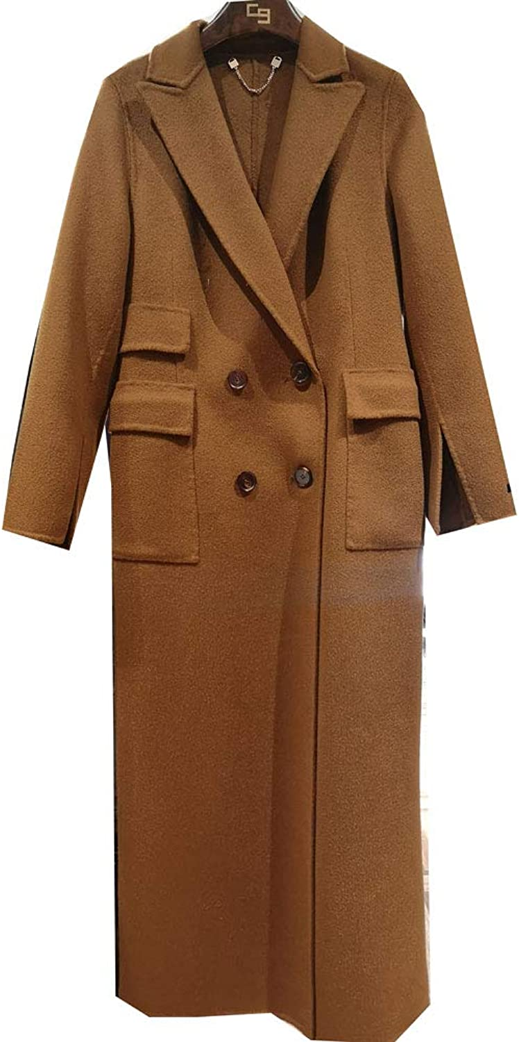 CG Women's Classic Double Breasted Trench Wool Coat Button Closure Long Camel Overcoat 890G085