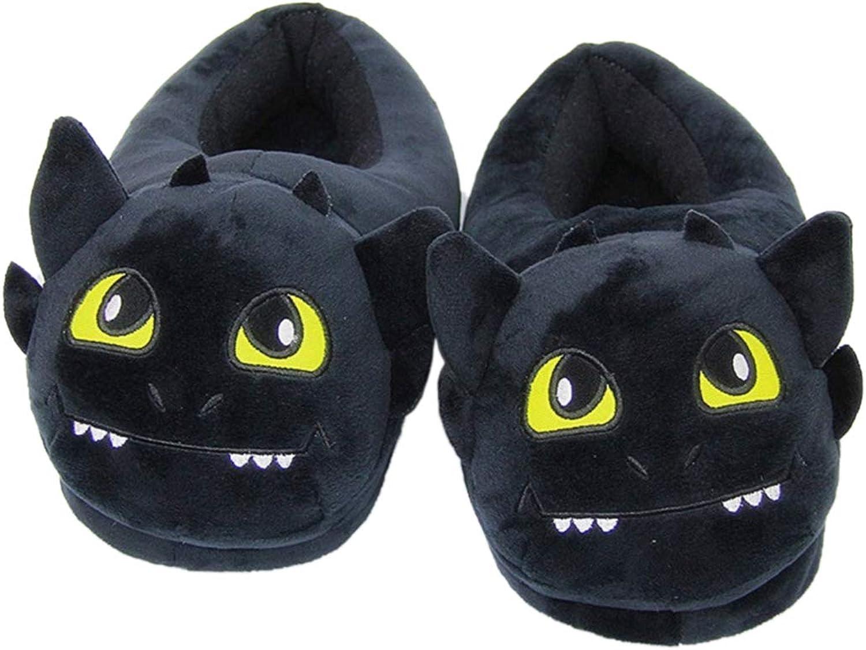 Nafanio Cartoon Winter Slippers Boots Warm Indoor Furry Adult Unisex Emoji Animal Black Plush Fuzzy House shoes