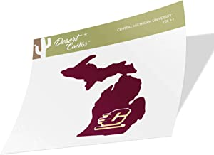 Central Michigan University CMU Chippewas Vinyl Decal Laptop Water Bottle Car Scrapbook (State Border Sticker)
