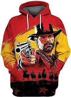 Unisex Red Dead Hoodie Realistic 3D Digital RDR2 Print Pullover Hooded Sweatshirt for Casual Halloween Cosplay Costume
