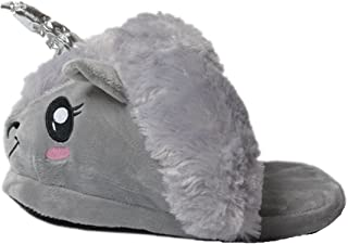 VineCrown Soft Novelty Animal Unicorn Plush Slippers Shoes Gift Toy (Grey)