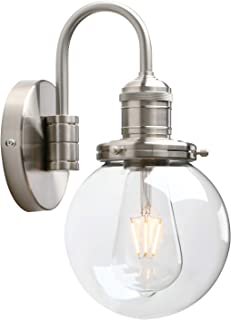 """Yosoan Lighting Modern Vintage Industrial Globe Sconce Wall Light Fitting with 5.9"""" Clear Glass Lampshade, for Office Home..."""