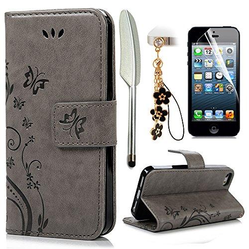 iPhone 5 5S SE Wallet Case iPhone 5 5S SE Flip Hülle YOKIRIN Schmetterling Blumen Muster Handyhülle Schutzhülle PU Leder Case Skin Brieftasche Ledertasche Tasche im Bookstyle in Gray