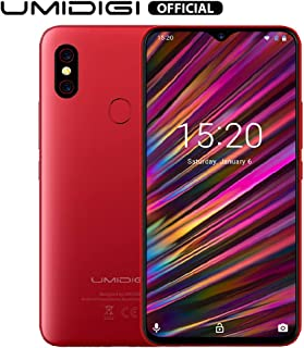 "UMIDIGI F1 Factory Unlocked Phone Android 9.0 6.3"" FHD+ 128GB ROM 4GB RAM Helio P60 5150mAh Big Battery 18W Fast Charge Smartphone NFC 16MP+8MP Phone(Red)"