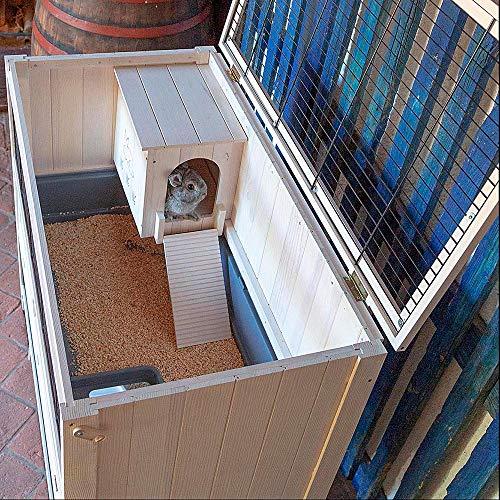 Ferplast - Conejera Jaula para Conejos Cottage, conejera de Interior, Madera Resistente, Dos Pisos espaciosos, Accesorios incluidos, 107.5 x 61.5 x h 102 cm