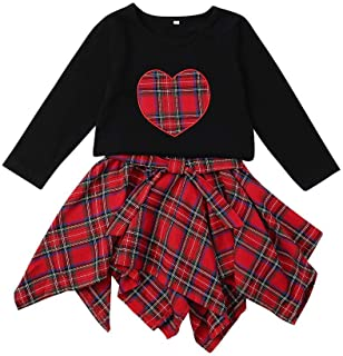 Kid Toddler Baby Girl Outfit Long Sleeve Heart T-Shirt Top Red Plaid Bow Irregular Skirt Clothes Set