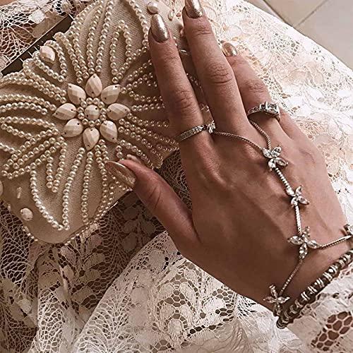 Sttiafay Pulseras bohemias para dedo con diamantes de imitación de margarita, cadena de mano, cadena de mano, para mujeres y niñas