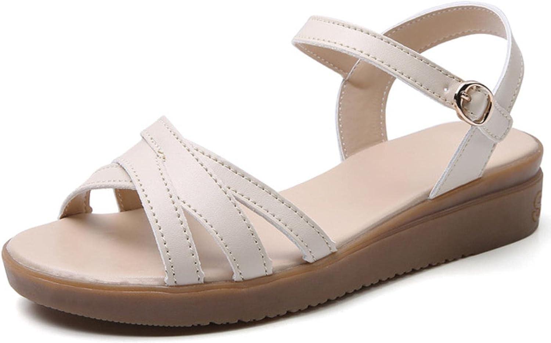 DaVanck Shallow Mouth Sandals Women 2021 Summer Flat Comfortable Solid Color Sandals Women Wild Trend Fashion Women's Sandals Beige