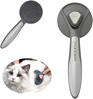 ZZWAI 猫用 ブラシ ペット ブラシ 长毛 短毛 毛取り ワンプッシュで抜け毛除去 毛取り ワンプッシュで抜け毛除 小型 中型犬 猫用ブラシ (グレー)