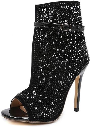 DANNV Sandales Sandales pour Femmes Chaussures De Soirée Bouche De Poisson Bottes en Strass Bottes à Talons Ultra Hauts Talons Aiguilles noir-36(230mm)