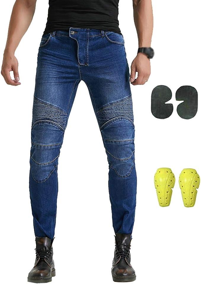YuanDian Hombre Pantalon Vaquero Moto con Protecciones de Rodilla y Cadera Stretch Slim Fit Jeans de Moto Pantalones de Motociclista Cargo Recto Denim ...