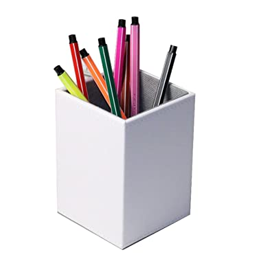 Iremico Colorful PU Leather Pencils Holder Stationery Organizer for Home Office (Square White)