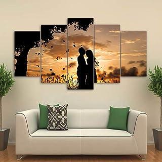 BOYH Impresiones en Lienzo Mural Imágenes Decoración del hogar 5 Piezas Under The Tree Pareja Sunset Shadow Impresiones HD Posters
