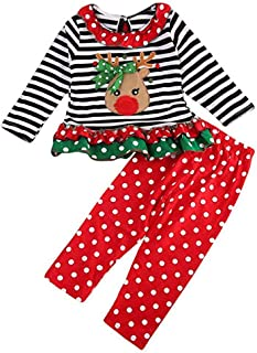 Christmas Outfit Toddler Baby Girls Long Sleeve Shirt Tunic Top Ruffle Pant Holiday Novelty Clothes 2Pc