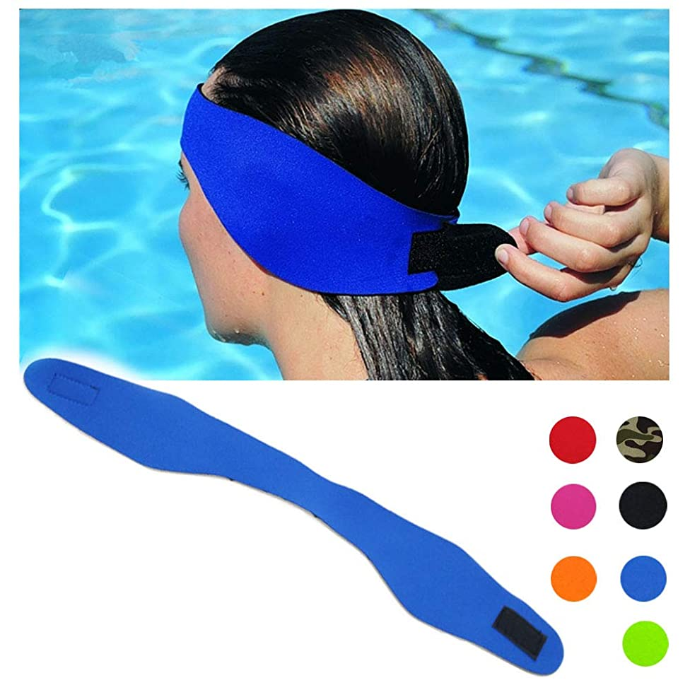 DoMii Swimming Headband Waterproof Ear Band Earplugs Hair Guard Yoga Diving Protector for Adult and Child Blue M