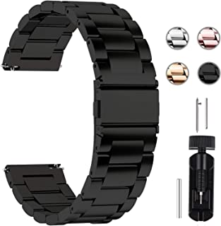 Fullmosa Quick Release Watch band, Stainless Steel Watch strap 16mm, 18mm, 20mm, 22mm or 24mm, 24mm Black